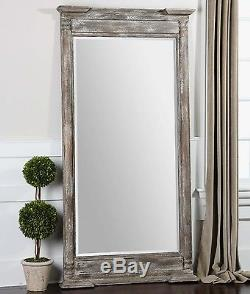 Large 74 Weathered Wood Rectangular Antiqued Gray Floor Or Wall Mirror Western