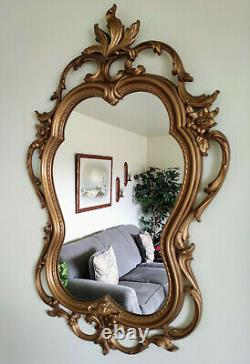 Large Acanthus MCM Syroco Homco Gold Scroll Wall Mirror Hollywood Regency