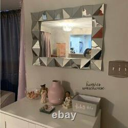 Large Accent Wall Mirror Decor Angled Frame Hanging Vanity Bathroom Bedroom Hall