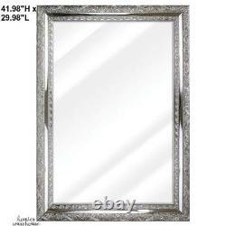 Large Accent Wall Mirror Silver Vintage Look Bevel Framed Bathroom Bedroom Decor