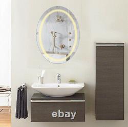 Large Anti-fog Oval LED Bathroom Mirror Wall Makeup Shaving Mirror &Light Dimmer