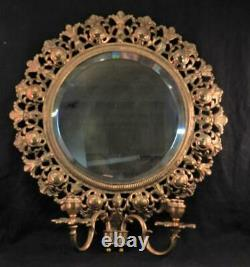 Large AntiqueVintage Brass Wall Sconce & Beveled MirrorNeo Classical Style