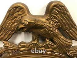 Large Antique American Federal Eagle Convex Gold Wood Wall Mirror