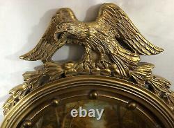 Large Antique American Federal Eagle Convex Gold Wood Wall Portal Mirror GVC