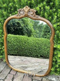Large Antique American Solid Oak Framed Victorian Wall Mirror