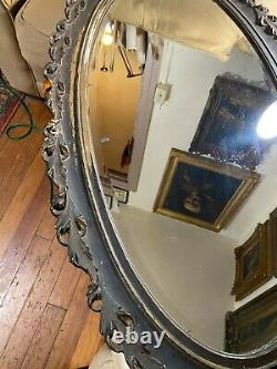 Large Antique Black Tone Carved Wood Frame Wall Mirror 24.0 Wide x 49.0 Tall