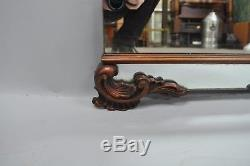 Large Antique Chinese Chippendale Mahogany Wall Mirror Sofa Dresser Etched Glass
