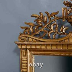 Large Antique French Louis XVI Style Carved Giltwood Wall Mirror, 20th Century