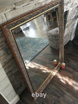 Large Antique Gold Vintage Ornate Mirror With Beveled Edge 45 x 35 Wall Mirror