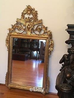 Large Antique Italian Wood Hand Carved Gold Gilt Wall Mirror
