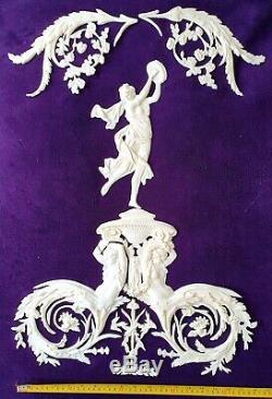 Large Antique Louis XVI White Plastic Ornate Wall Mirror Moulding Decoration