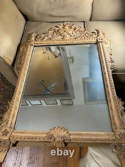 Large Antique Ornate Wood And Gesso Frame Wall Mirror 29.5 Wide x 46.0 Tall
