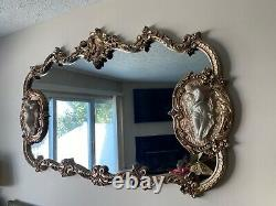 Large Antique Rococo Style Gold Wall Mirror with Bisque Figural Lovers Plaques