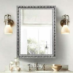 Large Antique Silver Bathroom Mirror Ornate Wall Vanity Hall Entry Dining Room