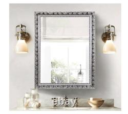 Large Antique Silver Ornate Wall Mirror Bathroom Vanity Hall Entry Dining Room