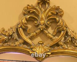 Large Antique Style Ornate Scroll Gold Wall Hanging Mirror 55 1/2 X 43 1/2