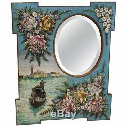 Large Antique Venetian Micromosaic Hanging Wall Mirror, Grand Canal Seascape