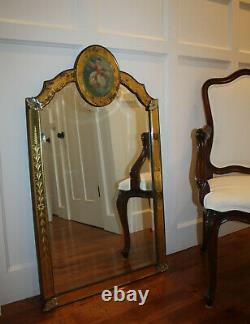 Large Antique Venetian Style Beveled Wall Mirror With Floral Etched Glass