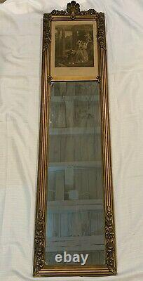 Large Antique Victorian French Gold Wall Trumeau Mirror Hand tinted Etching