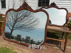 Large Antique Victorian Wall Mirror Carved Mahogany Beveled Glass