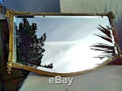 Large Antique Vintage Bevelled Wall Mirror Ornate Brass & Metal Frame