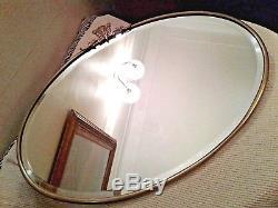 Large Antique Vintage Brass Framed Oval Wall Mirror Bevelled Edge