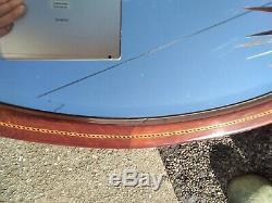 Large Antique Vintage Wall Hanging Oval Bevelled Mirror Ornate Wooden Frame