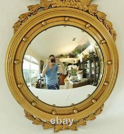 Large Antique/Vtg 32 Federal Carved Bullseye Eagle Convex Gold Wood Wall Mirror