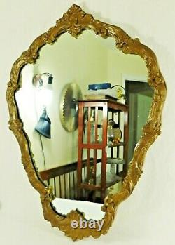 Large Antique/Vtg 36 Ornate Gold Wood & Gesso FLOWERS Hanging Wall Mirror