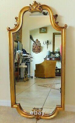 Large Antique/Vtg 41 Ornate Gold Carved Wood Decorative Hanging Wall Mirror