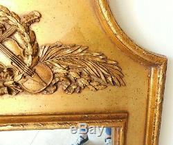 Large Antique/Vtg 45 French Gold Instrument Violin Mandolin Hanging Wall Mirror