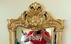 Large Antique/Vtg 63 Ornate Gold Floral Syroco Full Length Hanging Wall Mirror