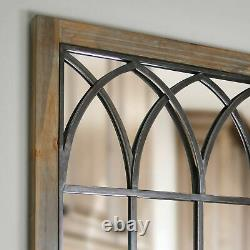 Large Arched Window Wall Mirror Solid Wood Metal Accent Rustic Farmhouse Decor