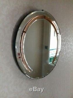 Large Art Deco Feature wall mirror coloured Panels Peach mantle mirror round