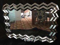 Large Art Deco Mosaic Venetian Style Facet Wall Mirror Home Hotel Xmas Present