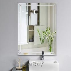 Large Bath Glass Mirror Wall Mount Mirrors Frameless Hanging Makeup Mirrors US