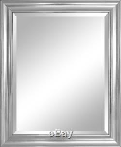 Large Bathroom Mirror For Wall Beveled Frame Silver Decor Mount Hanging Vanity