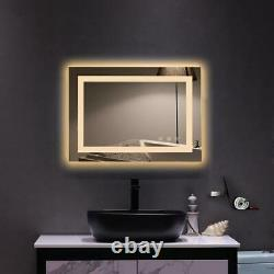 Large Bathroom Vanity Mirror Wall Bight LED Lighted Makeup Mirror Dimmable