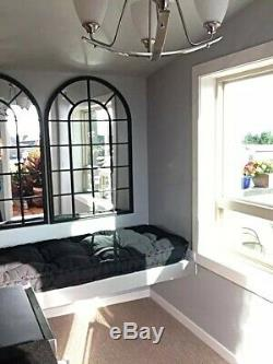 Large Black Arched Windowpane Wall Mirror Heavy Iron Frame Distressed Finish