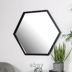 Large Black Hexagon Mirror retro wall home decor shape bathroom bedroom