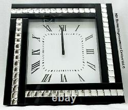Large Black Mirrored Wall Clock Silver Sparkly Crystal Border 45x45cm