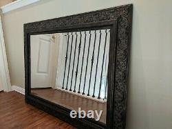Large Brown Wall Beveled Mirror with Ornate Carved Gold Antiqued Frame