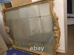 Large Carved Wood, Wall Hanging Mirror with Naturally Aged Antique Feel