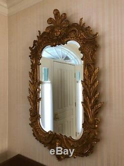 Large Carvers Guild Carved Gilt Gold Wood Wall Mirror Ornate Plumed Monarch