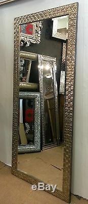 Large Champagne Mosaic Wood Frame Wall Mirror John Lewis Bevelled 167x76cm