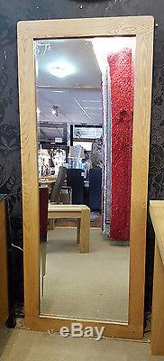 Large Chunky Solid Oak Wood Frame Wall Mirror Bevelled Glass 160x65cm