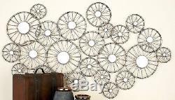 Large Contemporary Industrial Modern Metal Mirror Wall Art Sculpture Home Decor