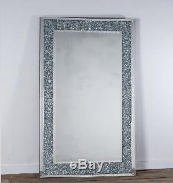 Large Crystal Gl Framed Rectangle Veian Bevelled Wall Mirror