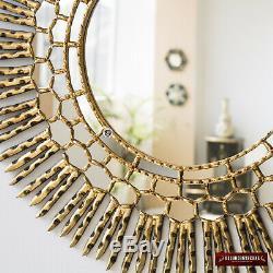 Large Decorative sunburst Mirror from Peru Handcarved Gold Round Mirror 30
