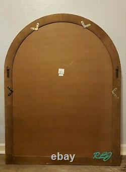 Large Distressed Rustic Modern Farmhouse Arched Windowpane Wood Wall Mirror NEW